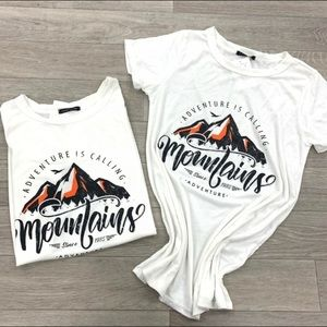 NWT Sweet Clair Mountains Calling White Graphic T